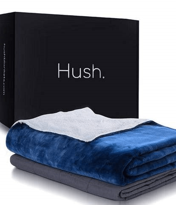 Blue Hush Throw Blanket in Front of Hush Box