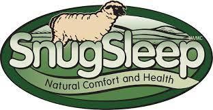 Snug Sleep Logo Sheep on green background