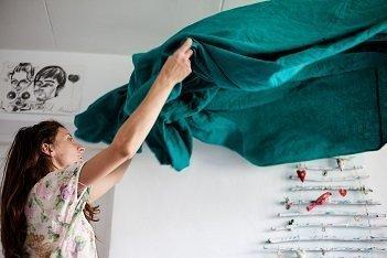 Woman Shaking Duvet Cover